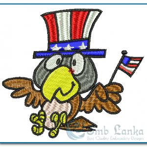 Bird Shakes American Flag Embroidery Design Birds