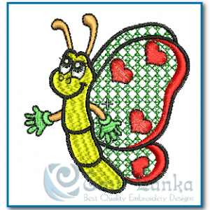 Butterfliy with Hearts 2 Embroidery Design Butterflies