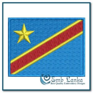 Democratic Republic of the Congo National Flag Embroidery Design Flags