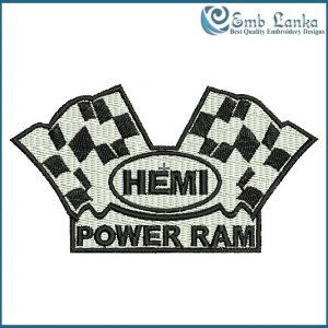 Dodge Hemi Power Ram With Flags Embroidery Design Flags
