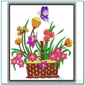 Flower Basket Embroidery Design Butterflies