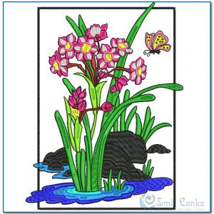 Flower Embroidery Design Butterflies