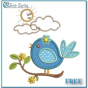 Free Cute Applique Bird Embroidery Design Appliques