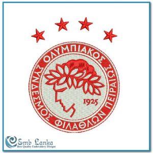 Olympiacos Football Club Logo Embroidery Design Custom Digitizing Order