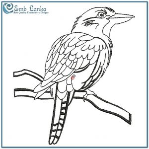 A Black And White Perched Kookaburra Bird Embroidery Design Birds