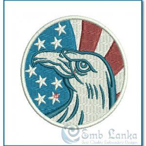 American Eagle And Flag Circle Logo Embroidery Design Birds