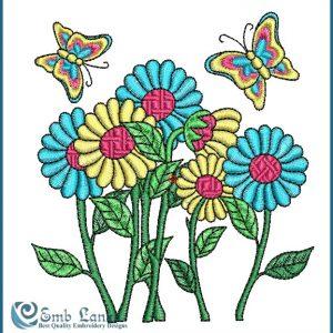Daisy Flower Embroidery Design Butterflies