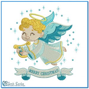 Cute Little Angel With Merry Christmas Embroidery Design Angels