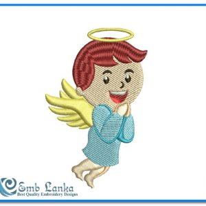 Cute Little Boy Angel Embroidery Design Angels