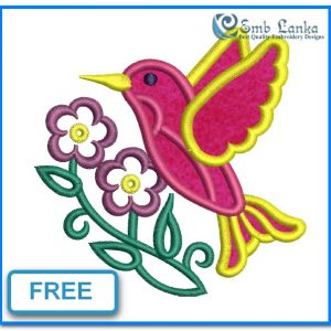 Free Bird And Flowers Applique 300x300, Emblanka