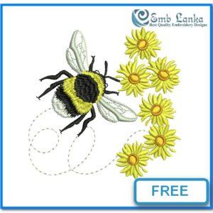 Free Bumble Bee And Daisies 300x300, Emblanka